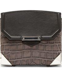 Alexander Wang Grey Croc_embossed Marion Prisma Shoulder Bag - Lyst