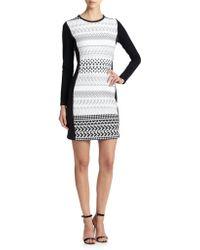 Shoshanna Graphic Stretch Knit Yeri Dress white - Lyst