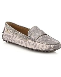 Ferragamo Movie Lux Lizard-Embossed Leather Driver Moccasins - Lyst