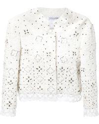 Oscar de la Renta Embroidered Lace Cropped Jacket - Lyst