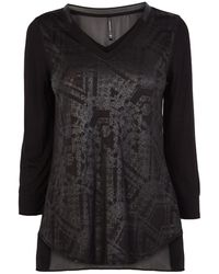 Karen Millen Wet Look Printed Check Tshirt - Lyst