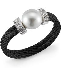 Charriol Diamondstation Pearl Blackcable Ring Size 65 white - Lyst