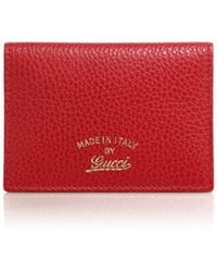 Gucci Swing Leather Id Case red - Lyst