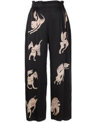 Claire Barrow - Wide-Leg Printed Silk Pants - Lyst