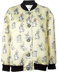 Au Jour Le Jour Allover Rabbit Printed Oversized Bomber Jacket