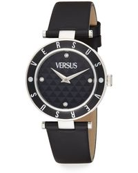 Versus  Stainless Steel & Enamel Leather Strap Watch - Lyst