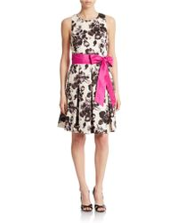 Eliza J Floral Print Fit And Flare Dress - Lyst