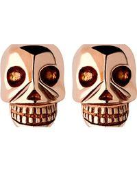 Links of London - Mini Skull Rose Gold Vermseil Stud Earrings - Lyst