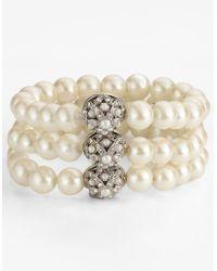 Carolee - 3-row Stretch Faux Pearl Bracelet - Lyst