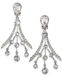 Oscar de la Renta Swarovski Crystal Fan Earrings - Lyst