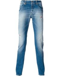 Dondup Distressed Slim Fit Jeans - Lyst