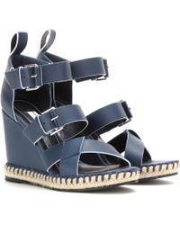 Balenciaga Leather Wedge Sandals - Lyst