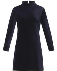 Freda - Stand-Collar Velvet Dress - Lyst