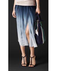Burberry Dégradé Silk Crépon Gathered Skirt - Lyst