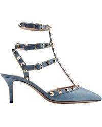 Valentino Rockstud Leather Kitten Heel Pumps - Lyst