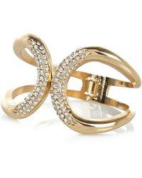 River Island Gold Tone Diamante Encrusted Clamp Cuff - Lyst