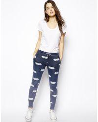 Zoe Karssen Bat-print Cotton-blend Track Pants - Lyst