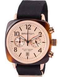 Briston - Black Acetate Clubmaster Chrono Rose Gold-plated Watch - Lyst