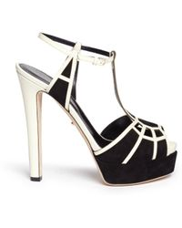 Sergio Rossi Suede Leather Cutout Platform Sandals - Lyst