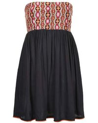 Topshop Pom-Pom Bandeau Dress - Lyst