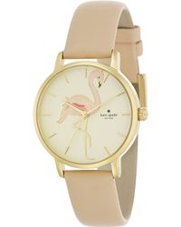 Kate Spade Novelty Metro Flamingo Goldtone Stainless Steel & Leather Strap Watch gold - Lyst