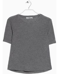 Mango Ribbed T-Shirt gray - Lyst