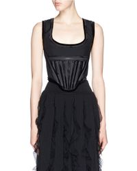 Givenchy Velvet Trim Boned Wool Corset black - Lyst