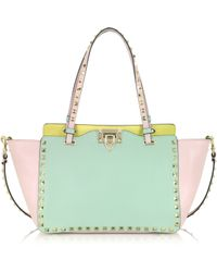 Valentino Rockstud Small Watercolor Leather Tote - Lyst