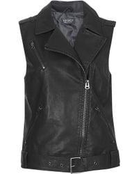 Topshop Womens Sleeveless Faux Leather Biker Jacket  Black - Lyst