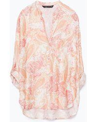 Zara Printed Top orange - Lyst