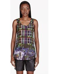 Carven Blue Printed Tank Top - Lyst