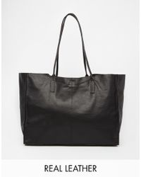 Asos Unlined Leather Shopper Bag With Skinny Straps black - Lyst