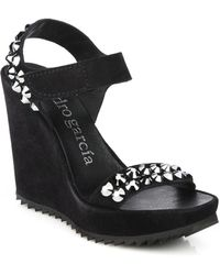 Pedro Garcia Studded Suede Wedge Sandals - Lyst