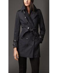 Burberry Leather Detail Gabardine Trench Coat - Lyst