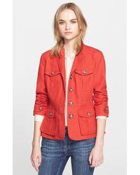 Burberry Brit 'Symdale' Linen Four Pocket Jacket orange - Lyst