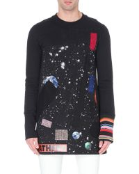Raf Simons Fray Patch Planet Tunic Sweatshirt Black - Lyst