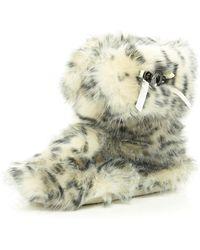 River Island Black Animal Print Faux Fur Fold Down Boots - Lyst