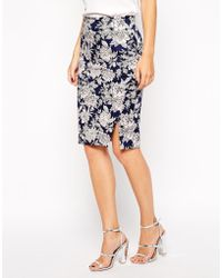 Oasis Floral Pencil Skirt - Lyst