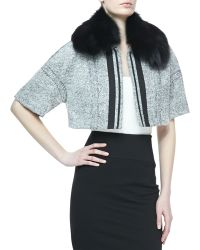 Carolina Herrera Fox Furtrim Cropped Tweed Jacket - Lyst