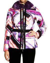 Emilio Pucci Jacket Coat Print with Fur - Lyst