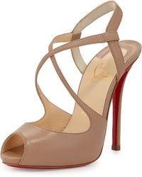 Christian Louboutin Leather Crisscross Red Sole Sandal - Lyst