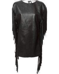 Saint Laurent Fringed Tunic Dress - Lyst