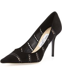 Jimmy Choo Agnes Perforated Suede Pump - Lyst