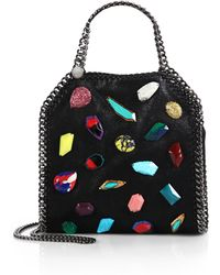Stella McCartney Falabella Mini Baby Bella Embellished Faux Suede Tote - Lyst