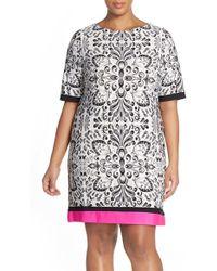 Eliza J | Colorblock Print Shift Dress | Lyst