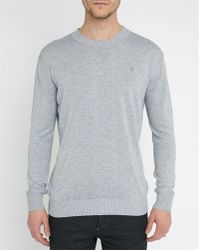 G-Star RAW | Mottled-grey Bandalo Chest Logo Round-neck Sweater | Lyst