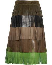 Sonia Rykiel Fringed Lamb Leather Skirt - Lyst