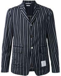 Thom Browne Blue Striped Blazer - Lyst