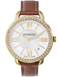 Swarovski Women'S Swiss Brown Leather Strap Watch 37Mm 5095940 brown - Lyst