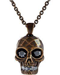 Alexander McQueen Textured Skull Pendant Necklace - Lyst